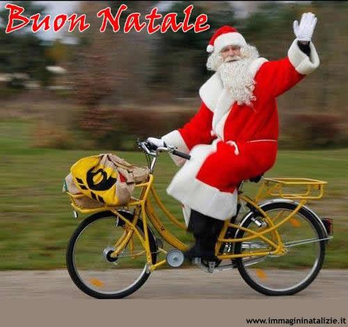 Babbo Natale In Bicicletta.Immagini Natalizie Babbo Natale In Bicicletta