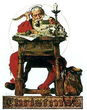 Babbo Natale che legge le letterine
